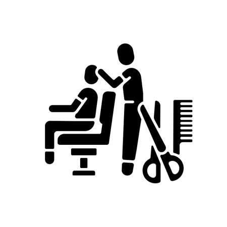 Hair cutting black glyph icon. Hairstyling. Beauty salon. Hairdressers services. Beauty procedures. Barbershop. Professional haircut. Silhouette symbol on white space. Vector isolated illustration