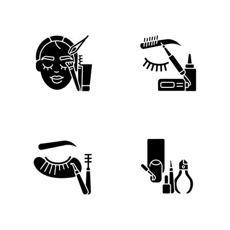 Face care black glyph icons set on white space. Manicure. Microblading. Eyelash extension. Nail varnish. Eyebrow lamination. Beauty procedure. Silhouette symbols. Vector isolated illustration