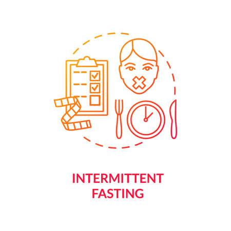 Intermittent fasting concept icon. Biohacking, nutrition management idea thin line illustration. Body hacking, dieting. Limiting meal time. Vector isolated outline RGB color drawing