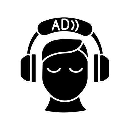 Audio description black glyph icon. Video description. Narration. Providing additional information. Audio described TV programmes. Silhouette symbol on white space. Vector isolated illustration
