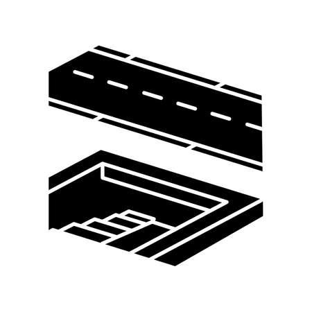 Underground pedestrian walkway black glyph icon. Safe pedestrian crosswalk. Underground tunnels. Modern city infrastructure. Silhouette symbol on white space. Vector isolated illustration