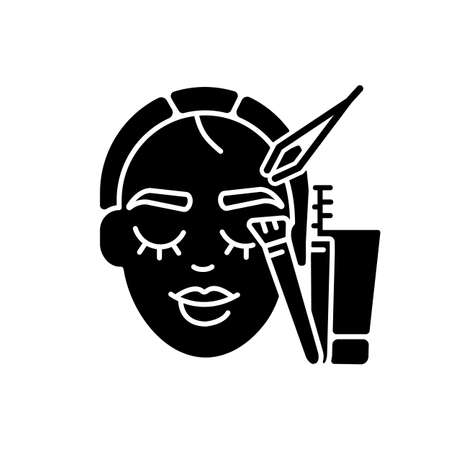 Brow art black glyph icon. Eyebrow lamination and tinting. Beauty salon. Semi permanent eyebrows makeup. Beauty procedures. Silhouette symbol on white space. Vector isolated illustration Ilustração Vetorial