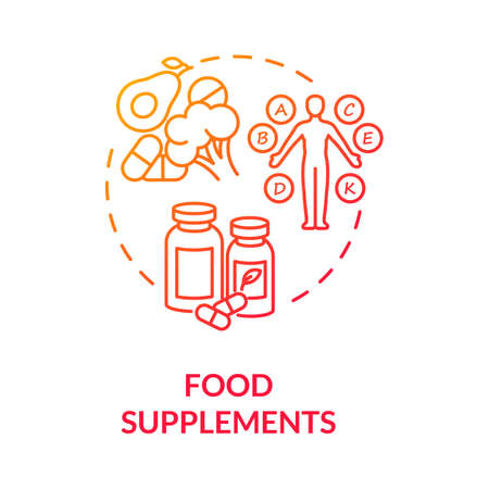 Food supplements concept icon. Healthy nutrition, biohacking tips idea thin line illustration. Vitamin diet, health improvement advice. Vector isolated outline RGB color drawing