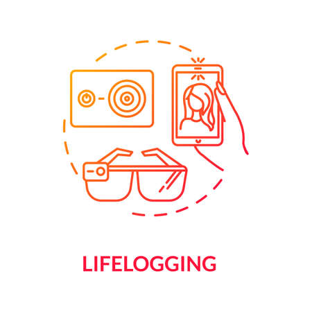 Lifelogging concept icon. Biohacking, video blogging idea thin line illustration. Streaming culture, recording and sharing video logs. Vector isolated outline RGB color drawing