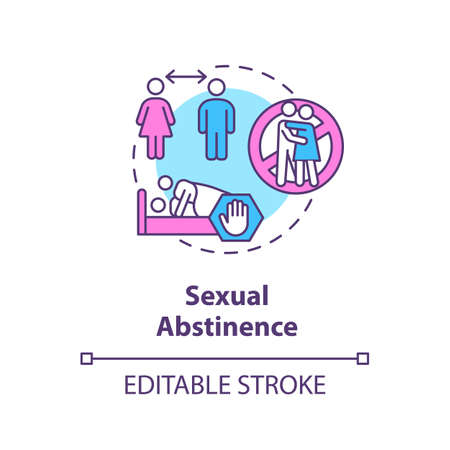Sexual abstinence concept icon. Abstention, restraint from idea thin line illustration. Sexually transmitted infections prevention. Vector isolated outline RGB color drawing. Editable stroke