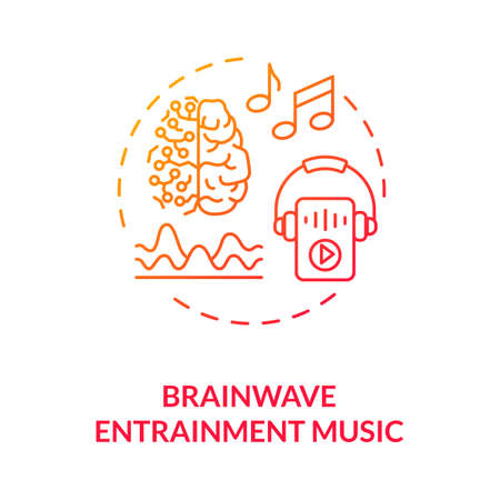 Brainwave entrainment music concept icon. Biohacking tips, self improvement idea thin line illustration. Productivity increase advice. Vector isolated outline RGB color drawing