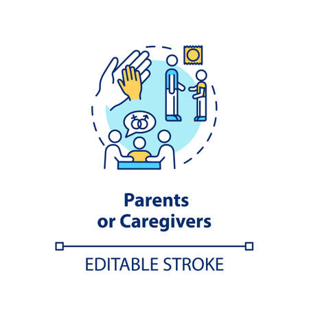 Parents or caregivers concept icon. Traditional education idea thin line illustration. Learning about human from parents. Vector isolated outline RGB color drawing. Editable stroke