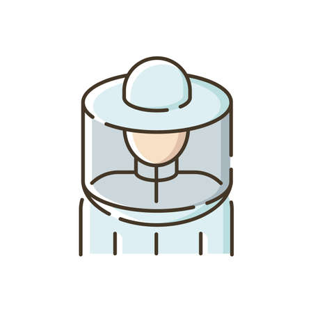 Beekeeper suit RGB color icon. Professional apiarist protective workwear. Beekeeping, apiculture. Apiary worker, bee farm employee isolated vector illustration