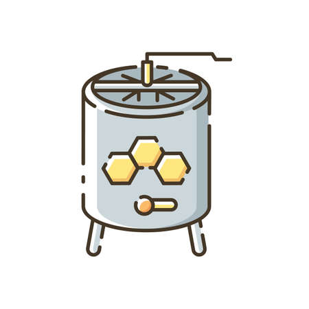 Honey extractor RGB color icon. Professional beekeeper tool. Apiculture. Mechanical device for honey extraction from honeycombs. Isolated vector illustration