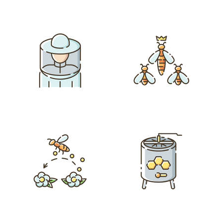 Beekeeping business RGB color icons set. Beekeeper suit, queen bee, pollination and honey extractor. Honeybees and apiarist tools. Isolated vector illustrations