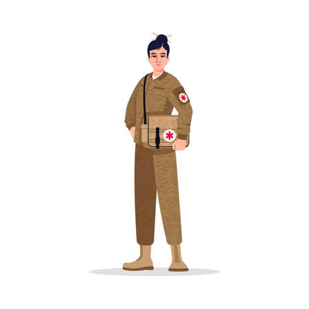 Combat medic semi flat RGB color vector illustration. Military surgeon. Noncombatant. Armed forces. Young asian woman working as combat medic isolated cartoon character on white background Vector Illustration