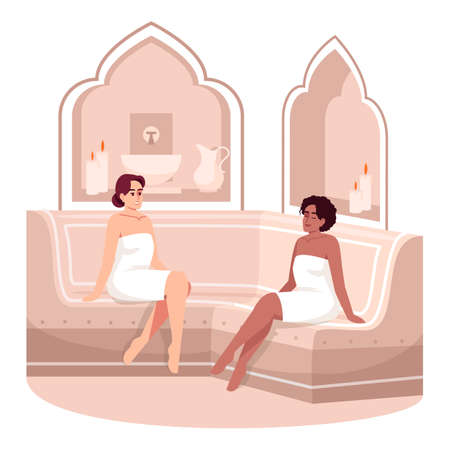 Turkish bath relaxation semi flat RGB color vector illustration. Girls in towels in sauna room. Oriental hotel resort treatment. Lounging women isolated cartoon characters on white background