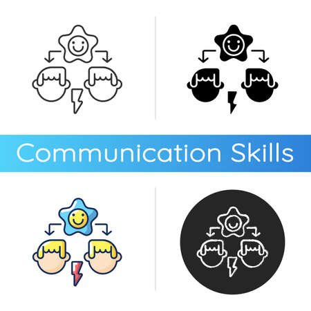 Conflict resolution icon. Linear black and RGB color styles. Communication skills, problem solving, reconciliation. Family therapy, consultation service. Isolated vector illustrations Illustration