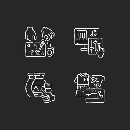 Hobby DIY chalk white icons set on black background. Engineering project. Musical production. Art and craft class. Fashion industry. Clothes production. Isolated vector chalkboard illustrations