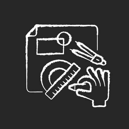 DIY designing chalk white icon on black background. Engineering blueprint. Technical scheme with measurement. Architect plan for project. Handicraft service. Isolated vector chalkboard illustration