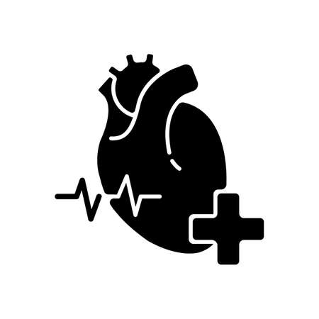 Cardiology department black glyph icon. Cardiologist. Cardiology consultant. Heart disease treatment. Medical diagnosis. Cardiac surgeon. Silhouette symbol on white space. Vector isolated illustration
