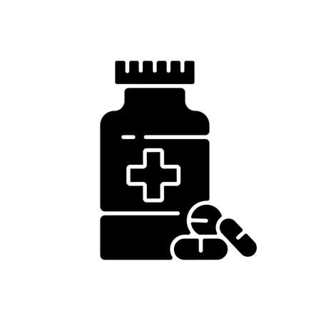 Pharmacy black glyph icon. Drugstore. Pharmaceutical industry. Drugs manufacturing. Pills prescription. Medical treatment. Silhouette symbol on white space. Vector isolated illustration
