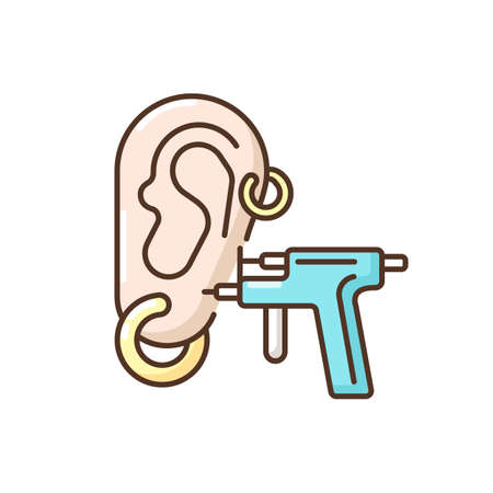 Piercing RGB color icon. Earings. Beauty salon. Body modifications. Ear, nose and body piercing. Beauty procedures. Jewellery wearing. Beautician services. Isolated vector illustration
