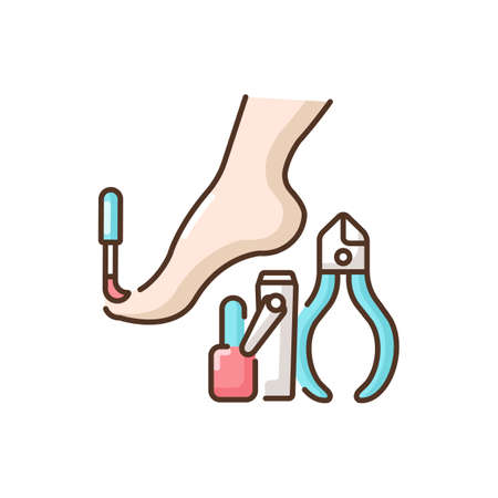 Pedicure RGB color icon. Nail polish. Beauty procedures. Tools for nails treatment. Beauty parlor services. Cosmetology. Women care. Beautician services. Isolated vector illustration