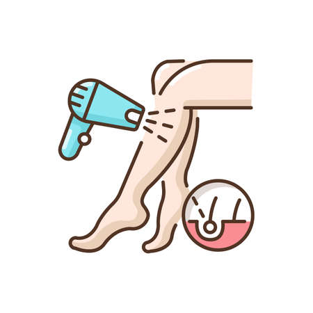 Laser hair removal RGB color icon. Depilation procedure. Device for shaving unwanted hair. Epilator. Personal hygiene. Cosmetology. Beautician services. Isolated vector illustration Illustration