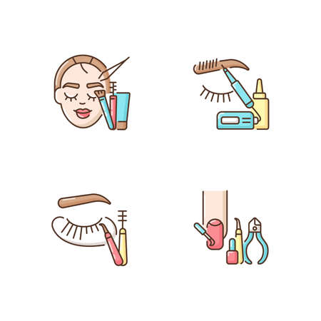 Face care RGB color icons set. Manicure. Microblading. Eyelash extension. Nail varnish. Eyebrow lamination. Beauty procedure. Beautician and cosmetologist services. Isolated vector illustrations Ilustração