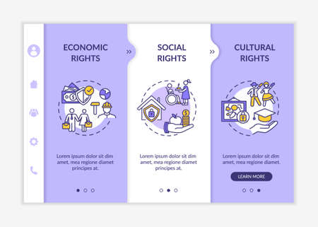 Human rights groups onboarding vector template. Economic, social and cultural rights. Natural law. Responsive mobile website with icons. Webpage walkthrough step screens. RGB color concept