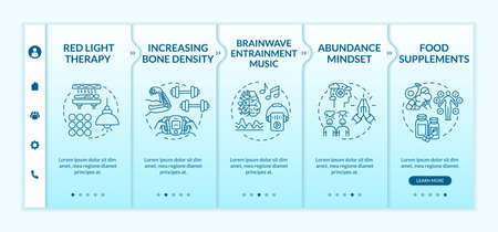 Biohacking tips onboarding vector template. Mind and body hacking, self improvement. DIY biology responsive mobile website with icons. Webpage walkthrough step screens. RGB color concept