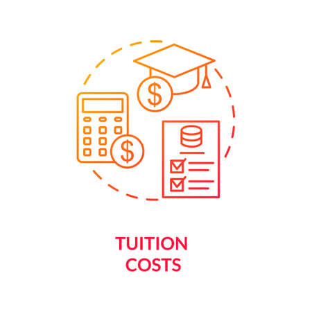 Tuition costs red gradient concept icon. Scholarship for student. Studying fee. Loan for university. College life idea thin line illustration. Vector isolated outline RGB color drawing