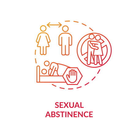 Sexual abstinence concept icon. Abstention, restraint from idea thin line illustration. Sexually transmitted infections prevention. Vector isolated outline RGB color drawing Vektoros illusztráció