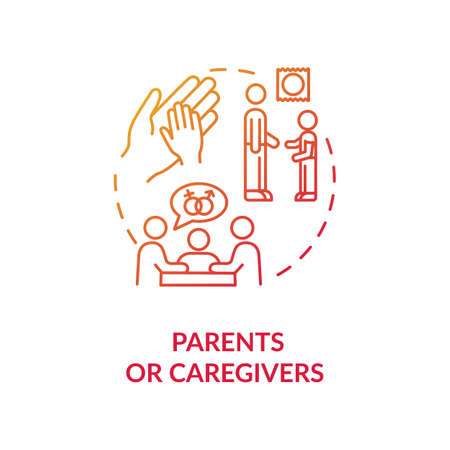 Parents or caregivers concept icon. Traditional sexual education idea thin line illustration. Learning about human sexuality from parents. Vector isolated outline RGB color drawing