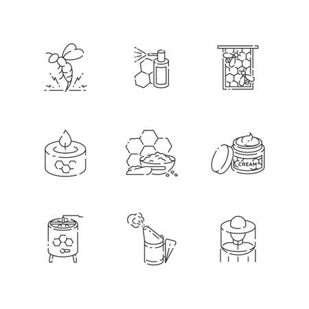 DIY beekeeping linear icons set. Homemade apiculture. Customizable thin line contour symbols. Apiarist tools and organic bee products. Isolated vector outline illustrations. Editable stroke Vecteurs