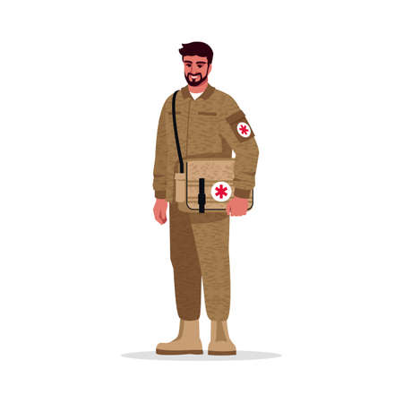 Military doctor semi flat RGB color vector illustration. Military surgeon. Army physician. Young hispanic man working as combat medic isolated cartoon character on white background
