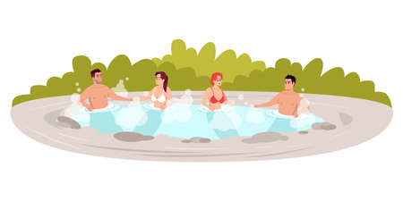 Outdoors hot tub semi flat RGB color vector illustration. Japanese resort. Public hot springs. People soak in pool. Male and female friends isolated cartoon characters on white background