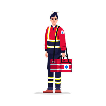 Paramedic semi flat RGB color vector illustration. Emergency medical technician. Critical help doctor. Asian woman working as EMT with medical bag isolated cartoon character on white background