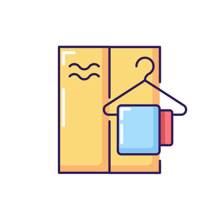 Changing cabin RGB color icon. Water park, summer beach, public swimming pool recreation. Personal closet for storing spare clothes. Isolated vector illustration