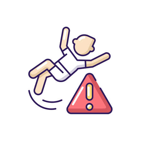 Be careful RGB color icon. Water park, public places safety rule. Health risk, trauma danger warning. Person slipped, falling on floor isolated vector illustration