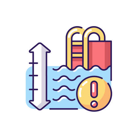 Pool depth RGB color icon. Aqua park recreation rule, safe swimming conditions. Secure summer recreation. Water surface level warning isolated vector illustration