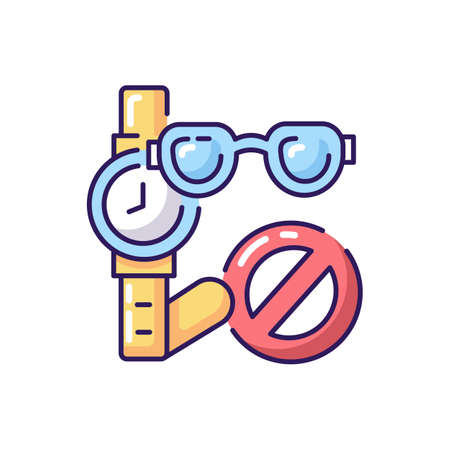 No jewelry rule RGB color icon. Aquapark safety policy. Water park, pool restricted items. Wristwatch and eyeglasses with stop sign isolated vector illustration Illusztráció