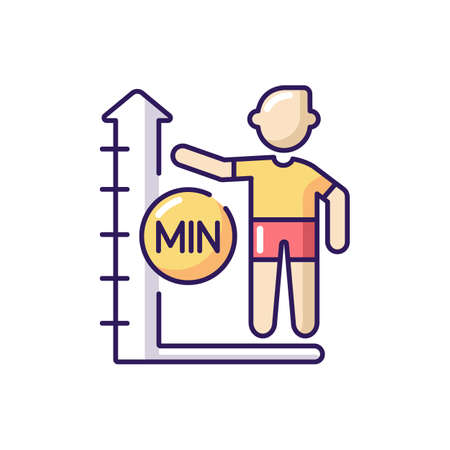Height limit RGB color icon. Waterpark safety policy, amusement park rule. Entertainment attraction, aqua park slide with restriction. Isolated vector illustration