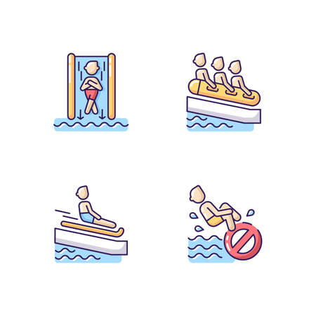 Waterslide types RGB color icons set. Speed slide, family rafting, swimming mat and no bomb jumping. Waterpark activities and rules. Isolated vector illustrations Illusztráció