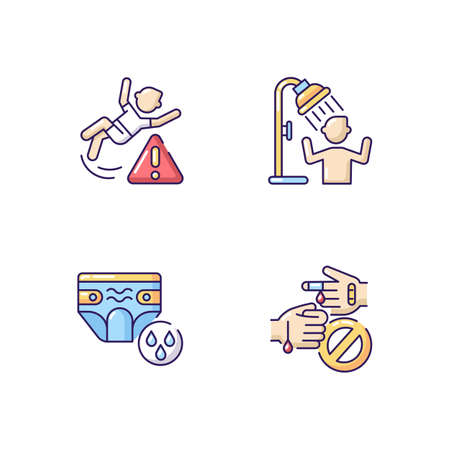 Aquapark recreation tips RGB color icons set. Swim diapers for kids, use shower, be careful. Water park rules and precautions. Isolated vector illustrations