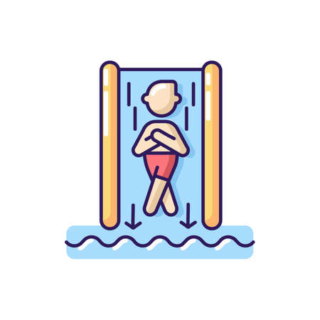 Speed slide RGB color icon. Extreme waterslide, aqua park entertainment activity. Summer recreation. Tourist on steep water slide isolated vector illustration