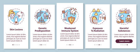 Skin cancer risk factors onboarding mobile app page screen with concepts. Weakened immune system. Skin lesion. Walkthrough 5 steps graphic instructions. UI vector template with RGB color illustrations