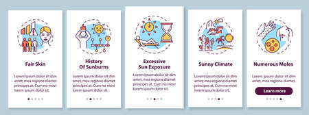 Skin cancer risk factors onboarding mobile app page screen with concepts. Numerous moles. Sunny climate. Walkthrough 5 steps graphic instructions. UI vector template with RGB color illustrations Иллюстрация