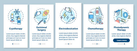 Skin cancer treatment onboarding mobile app page screen with concepts. Chemotherapy. Electrodessication. Walkthrough 5 steps graphic instructions. UI vector template with RGB color illustrations Vecteurs