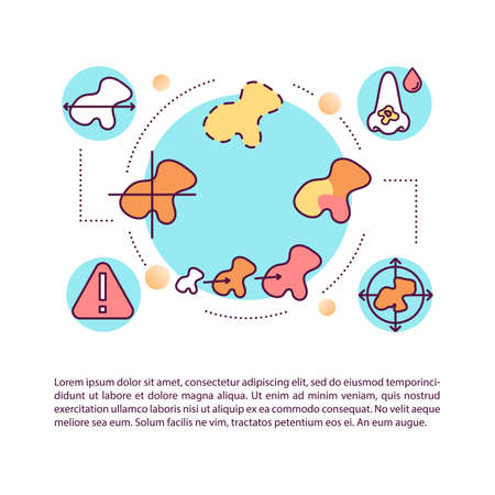 Melanoma warning signs concept icon with text. ABCDEs of melanoma. Evolving of moles. PPT page vector template. Brochure, magazine, booklet design element with linear illustrations Иллюстрация