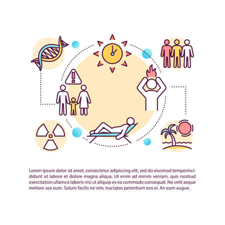 Skin cancer risk factors concept icon with text. UV exposure. Melanoma. Environmental chemicals. PPT page vector template. Brochure, magazine, booklet design element with linear illustrations