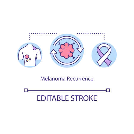 Melanoma recurrence concept icon. Skin disease. Locally recurrent cancer. Melanoma comeback idea thin line illustration. Vector isolated outline RGB color drawing. Editable stroke Çizim