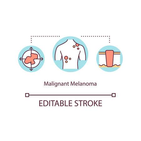 Malignant melanoma concept icon. Malignancy treatment. Epidermis diseases therapy. Skin cancer idea thin line illustration. Vector isolated outline RGB color drawing. Editable stroke Vektorové ilustrace