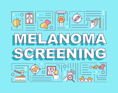 Melanoma screening word concepts banner. ABCDEs of skin cancer. Carcinoma. Infographics with linear icons on blue background. Isolated typography. Vector outline RGB color illustration